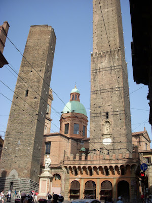 The two bell towers - one of them is leaning badly, the other we climbed!