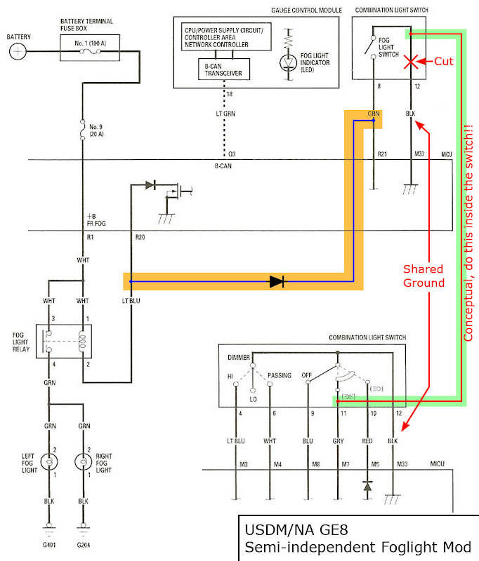 independent fog light wiring diagram with switch