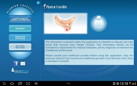 Plantar Fasciitis Tablet App screenshot 1