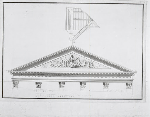 Elevation and cross-section of front wall of the original