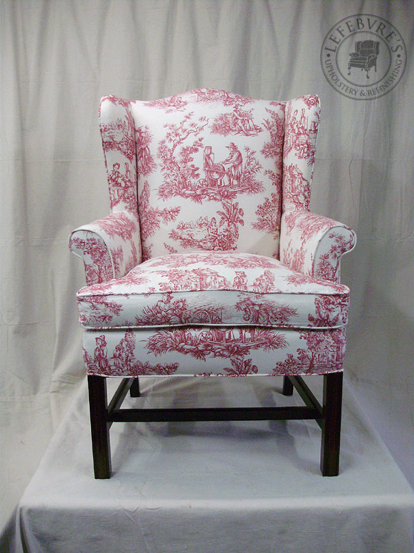 Lefebvres Upholstery Small Antique Wing Chair  Red Toile