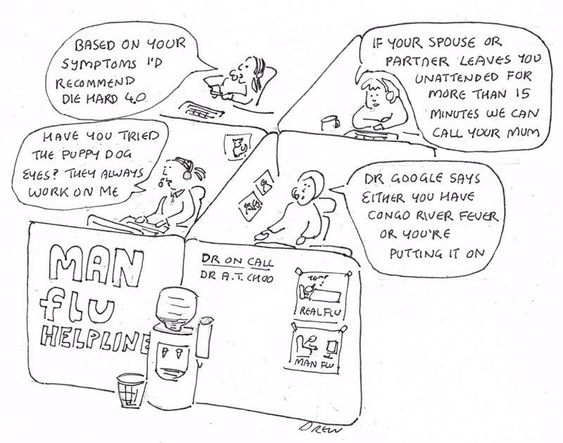 Cartoons I Drew: Man Flu Helpline