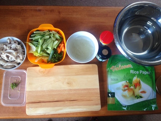 Chopped cucumber, carrots and onions - ingredients for Vietnamese summer rolls