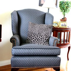 Wing Chairs For Living Room Royal Throne Sale Balanced Style Reupholstered Antique Wingback
