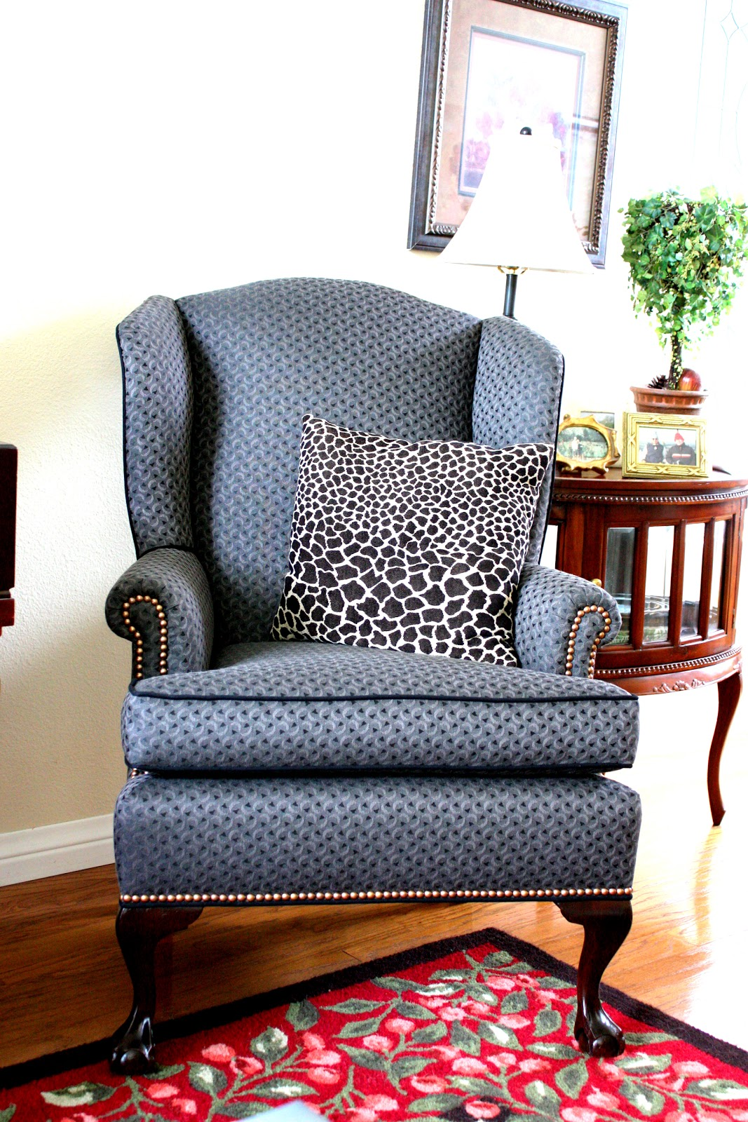 living room wingback chairs scoop back dining uk balanced style reupholstered antique