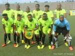 L'équipe de l'As.V Club (vert noire) de la RDC lors du match contre Zamālek (blanc) de l'Egypte le 18/05/2014 au stade Tata Raphael à Kinshasa, dans le cadre de la ligue des champions 2014 de la CAF. Radio Okapi/Ph. John Bompengo