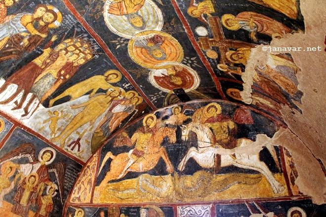 Inside of St. Jean Church in Gülşehir, Cappadocia