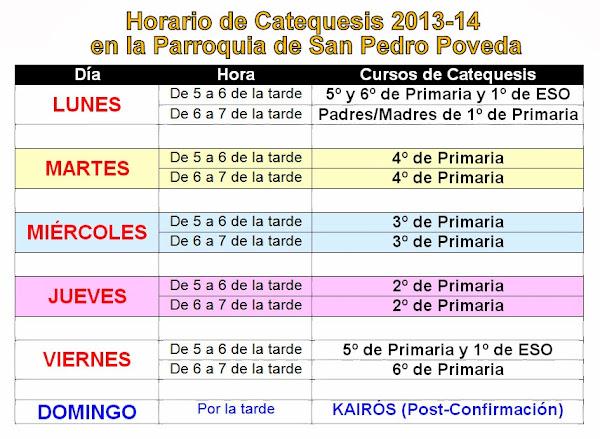 Horario de Catequesis del curso 2013-14