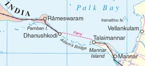 Adam's Bridge separating Palk Strait from the Gulf of Mannar