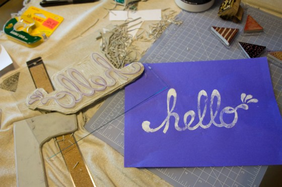 hello block stamp print