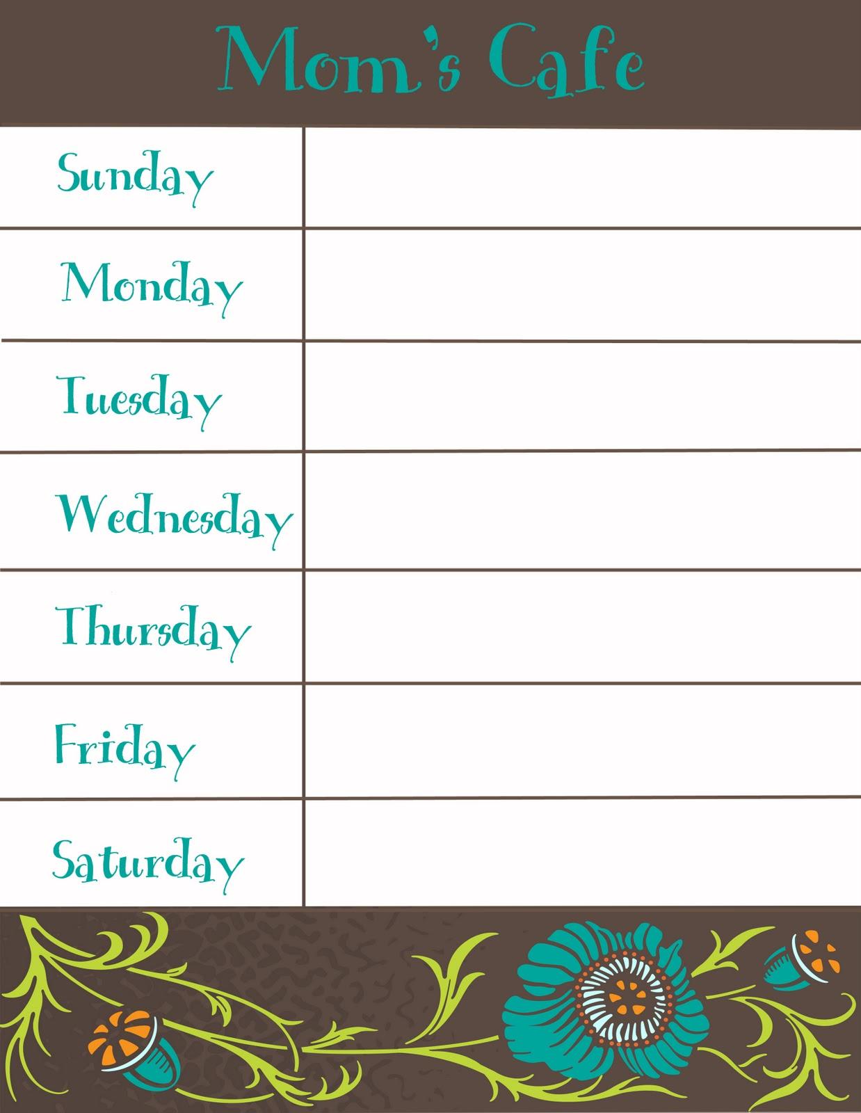 The Utic Crafting Weekly Menu Printable