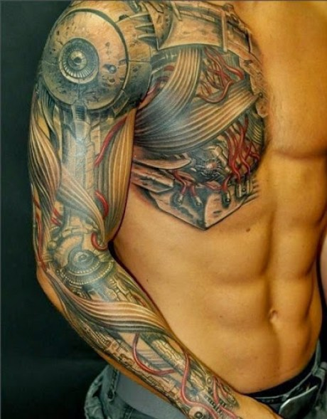 biomechanical tattoos for men on arm and chest