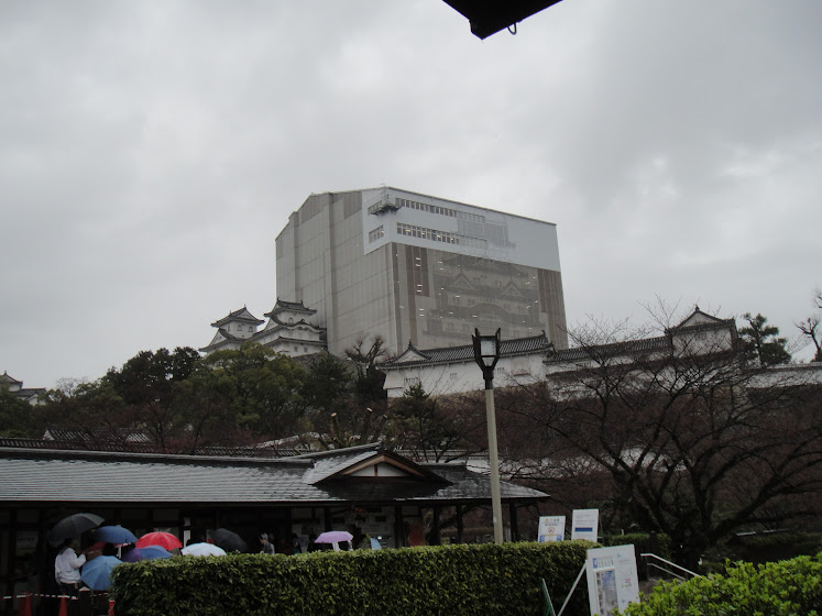 Himeji Castle covered by a 2D-printout