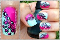 glamified92: Mint & Fuchsia Retro Nail art Tutorial