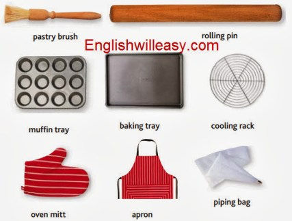 pastry brush, rolling pin, mufffin tray, baking tray, cooling rack, oven mitt, apron, piping bag