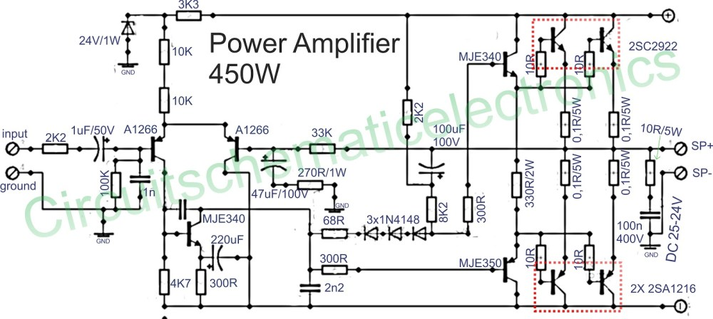 medium resolution of to the driver circuit using pnp transistor mje350 and mje350 for the final amplifier