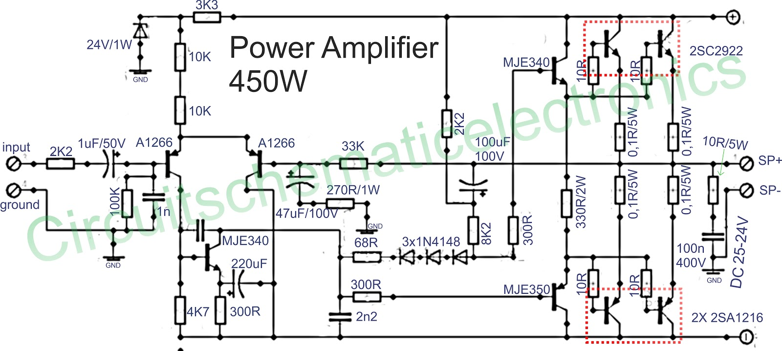 hight resolution of to the driver circuit using pnp transistor mje350 and mje350 for the final amplifier