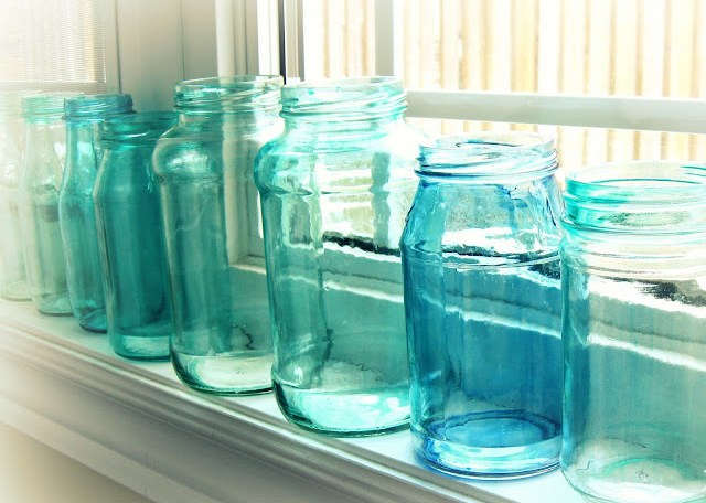 DIY make your own aqua mason jars via oh lovely day