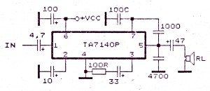 Low power amplifier with IC TA7140  Electronic Circuit