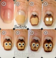 easy cute cartoon lion nails