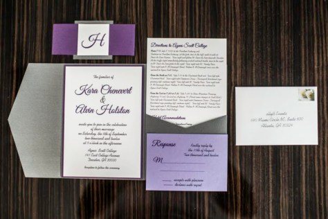 Purple and Gray Wedding Invitations