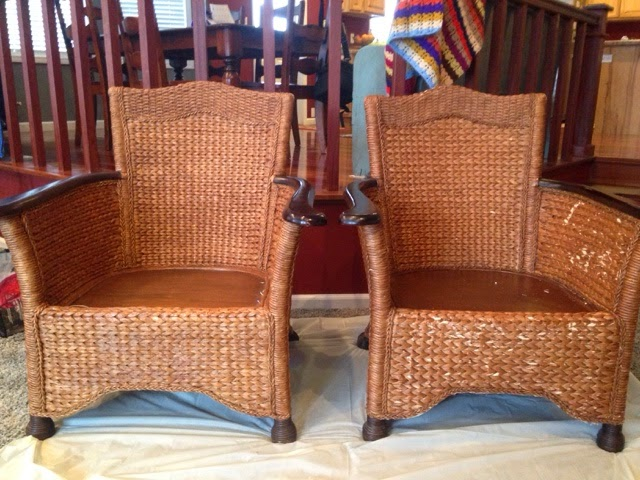 pier one rattan chair hanging anthropologie addicted to fabric repairing scratched 1 wicker chairs the on left is repaired