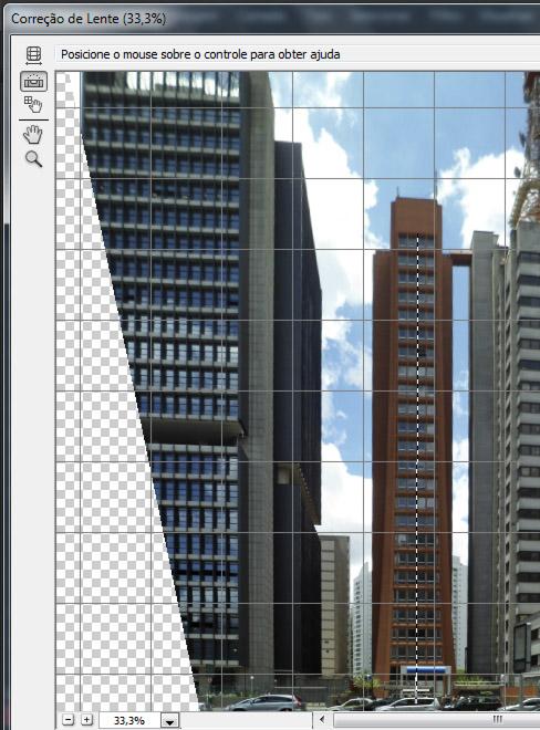 Ferramentas do filtro Correção de Perspectiva, no canto superior esquerdo da janela