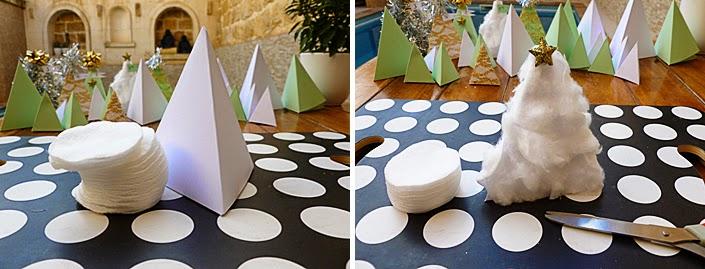 DIY : un sapin enneigé avec du papier et du coton.