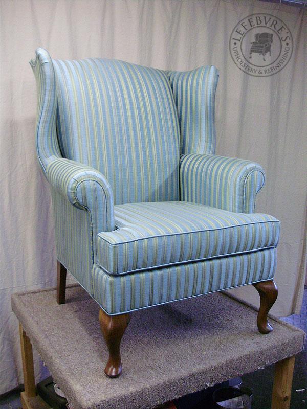 white shell chair outdoor pod lefebvre's upholstery: striped wing - light blue
