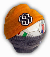beanies on a soccer ball