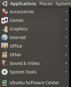 Ubuntu Applications Menu