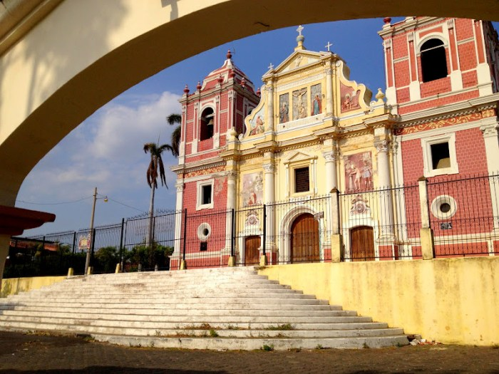 a colorful church in Leon