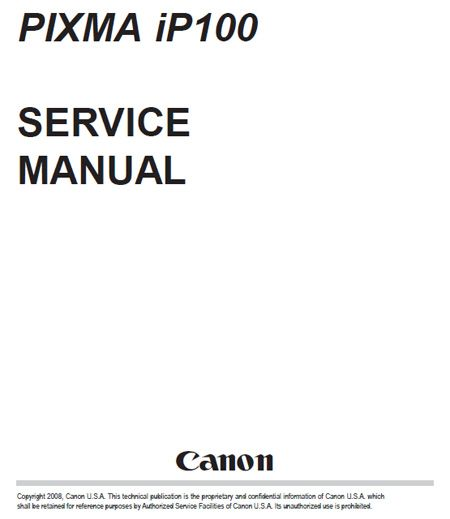 Canon Pixma iP100 Printer Service Manual + Parts Catalog