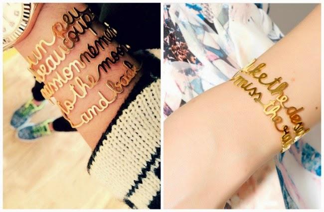 Bijuterias com letras - Bracelete com frases - Helo Gomes