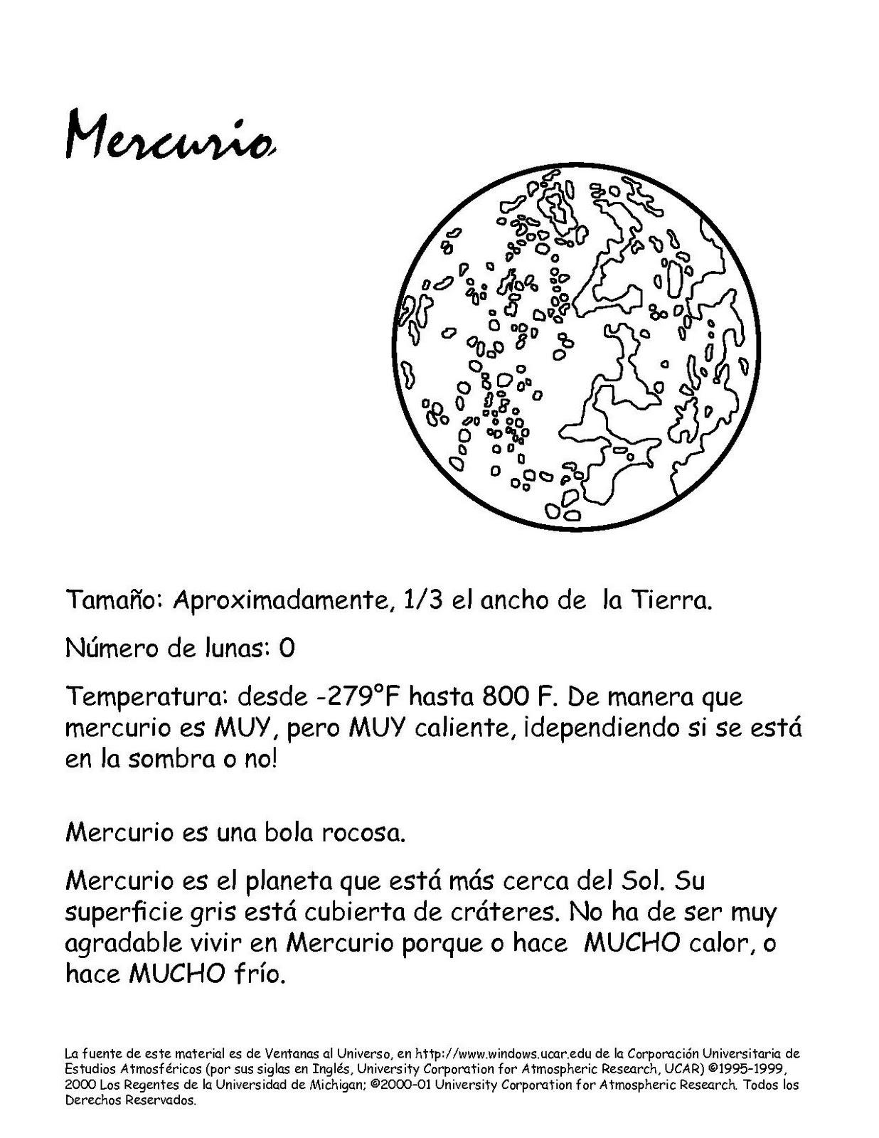 Portal Escuela Dibujo Para Pintar El Planeta Mercurio Y
