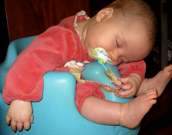 sleeping baby in bumbo