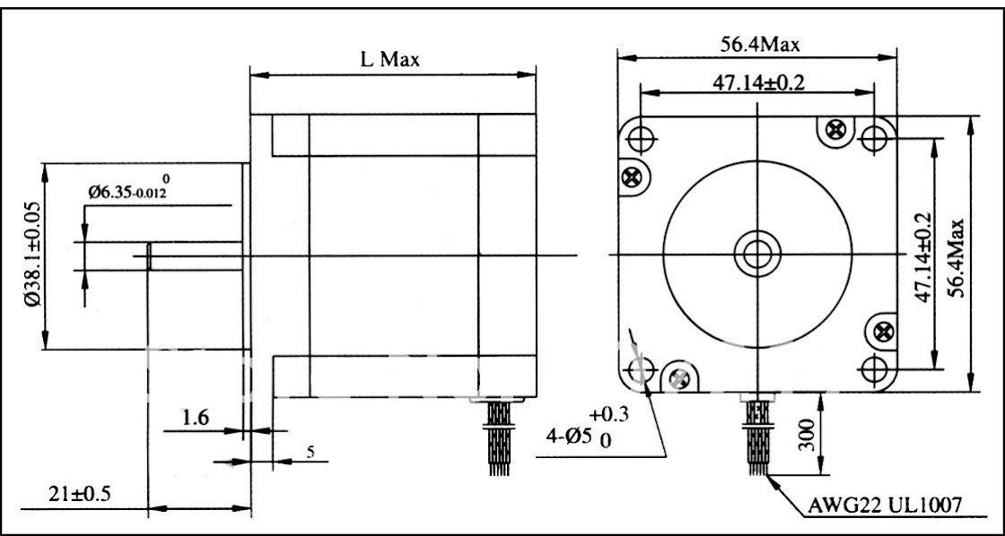 มอเตอร์ Stepper NEMA23 L56mm. 165oz-in คลองถมช้อปปิ้งมอลล์