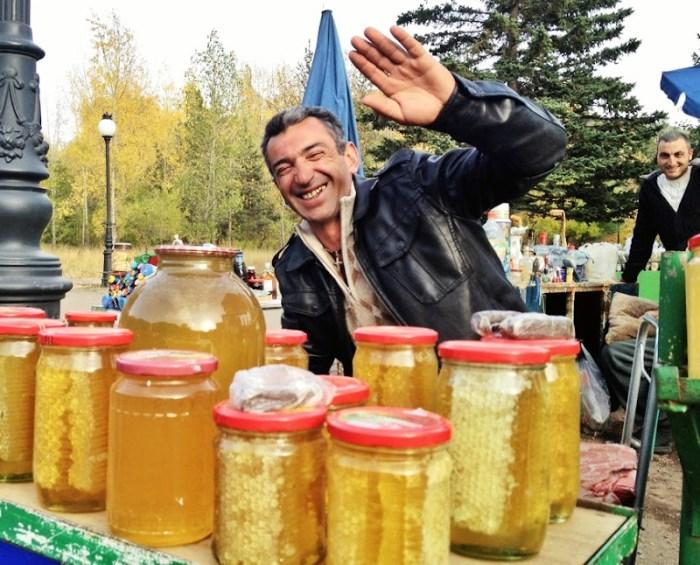 Honey seller in Jermuk, Armenia