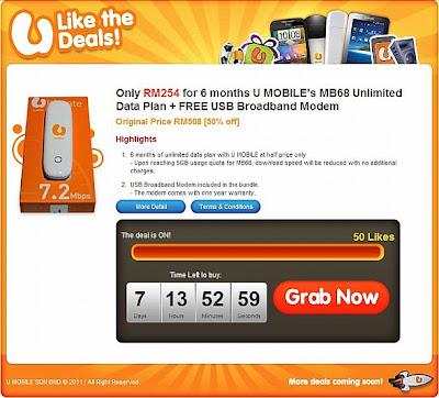 U MOBILE Offering 6 Months USB Broadband for RM254