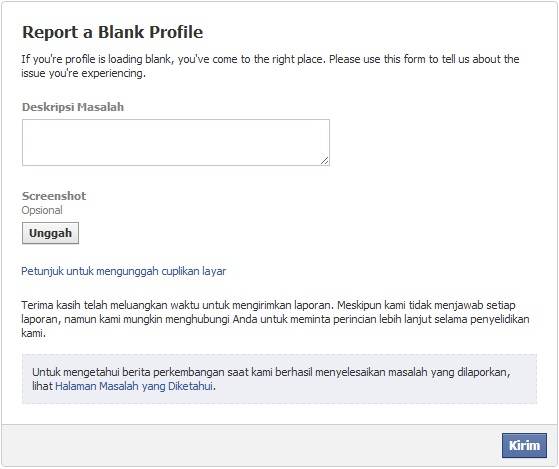 Report a Blank Profile