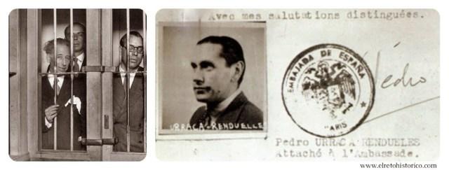 L. Companys y compañeros de la Generalitat en la cárcel del Puerto de Santa María en 1934 // Permiso de tránsito de Pedro Urraca por la Francia ocupada