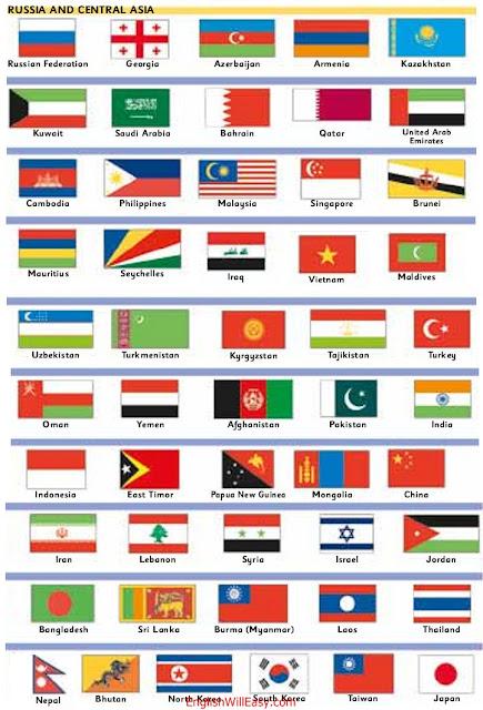 ရုရှားနှင့်အာရှအလယ်ပိုင်းရုရှား, ဂျော်ဂျီယာ, အဇာဘိုင်ဂျန်, အာမေးနီးယား, ကာဇက်စတန်, ဥဇဘက်, တာ့ခ်မင်နစ္စတန်, အီရတ်, ကူဝိတ်, ဆော်ဒီအာရေဗျ, ဘာရိန်း, ကာတာ, ယူအေအီး, အိုမန်, ယီမင်, ဗီယက်နမ်, ကမ္ဘောဒီးယား, ဖိလစ်ပိုင်, မလေးရှား, စင်္ကာပူ, ဘရူနိုင်း, အင်ဒိုနီးရှား, အရှေ့တီမော, မော်လ်ဒိုက်, မော်ရေးရှပ်, ဆေးရှဲ, ကာဂျစ္စတန်, Tajikistan, တူရကီ, အီရန်, လက်ဘနွန်, ဆီးရီးယား, အစ္စရေး, ဂျော်ဒန်, အာဖဂန်နစ္စတန်, ပါကစ္စတန်, အိန္ဒိယ, ဘင်္ဂလားဒေ့ရှ်, သီရိလင်္ကာ, မြန်မာ (မြန်မာ), လာအို, ထိုင်း, ပါပူဝါနယူးဂီနီနိုင်ငံ , မွန်ဂိုလီးယား, တရုတ်, နီပေါ, ဘူတန်, မြောက်ကိုရီးယား, တောင်ကိုရီးယား, တိုင်ဝမ်, ဂျပန်