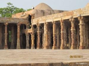 Courtyard at Qutb Minar. Pillars of an ancient Hindu temple.