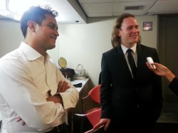 Diego Matheuz and Christian Vásquez giving an interview after the concert.