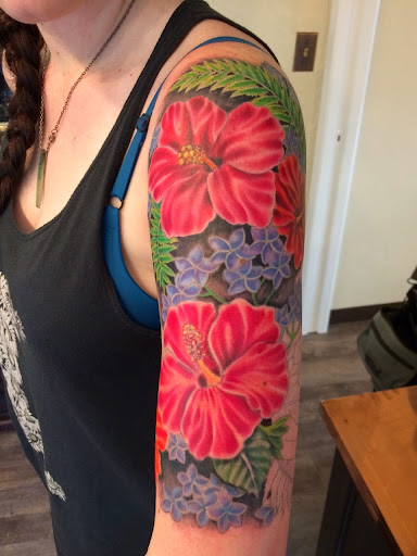 Hawaiian Flower Shoulder Tattoo