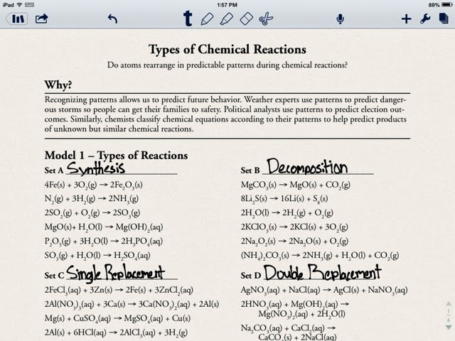 Classification Of Chemical Reactions Worksheet Free
