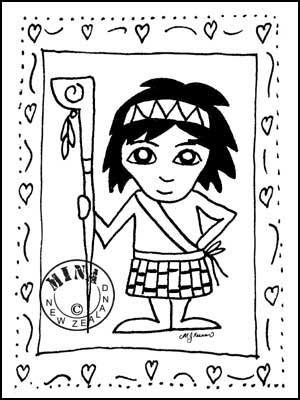 Maori Printables: Boy Poster Colouring Page