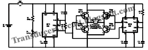 Dog Repellent Circuit ~ Transducer Circuit Diagram