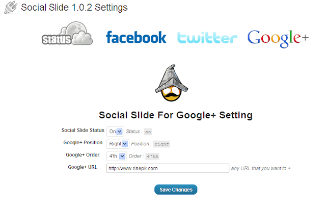 google+ interface social slide plugin