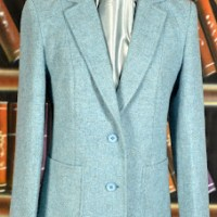 Elegant Pale Blue Tweed Jacket for Spring